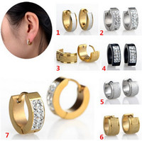 Wholesale 12Pairs Punk Mens Women Crystal Stainless Steel Ear Hoop Stud Earrings Gauges New Fashion Earring Jewelry