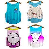 Cheap Wholesale-Raisevern new 2015 cute cartoon Adventure Time print 3D crop top brand women tee top fashion tank tops punk camisole tee shirt