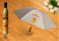 beer bottle umbrella - Personalized red wine bottle umbrella lovers umbrella folding beer umbrella sun protection