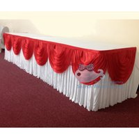 Wholesale Nice Looking RED Color Swag Drape White Color Ice Silk Table Skirt Used For Round Or Rectangular Tables