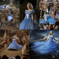 apple london - Amazing Newest Movie Cinderella Prom Dresses Luxury crystals Lily James Glittery Blue Princess Evening Ball Gowns Gorgeous Party Dress