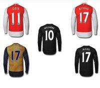 superior calidad de Tailandia 2015-2016 manga larga Premier Liga Inicio Fuera jerseys camisa camiseta de fútbol soccer Özil Walcott Ramsey Alexis Sánchez