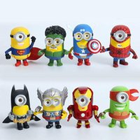 Wholesale 8Pcs The Avengers Despicable Me minions Movie toys new Despicable Me Cartoon Superman Hulk Captain America Iron Man toys B