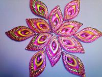 Wholesale Pink Rhinestones sew on resin stones Eye Navette shape crystal mm