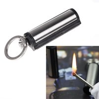 Wholesale Hot Sale Waterproof Outdoor Camping Metal Permanent Match Striker Lighter with Key Chain Survival Matches Silver