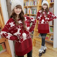 christmas jumpers - 2014 Women Korean Winter Ugly Christmas Snowflake Pullover Loose Knitted Casual Sweater Cardigan Jumpers Blouse Top