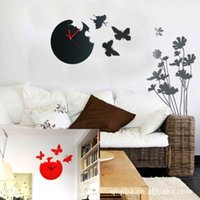 Wholesale Decor Home Art Design Modern Style Colors Practical Cute Butterfly Wall Clock FZ770