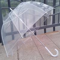 beauty rains - New Long Handle Color Transparent Umbrella Rain Semi automatic Umbrellas For Outdoor Beauty Tools