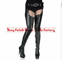 Wholesale HOT Crotch boots wtih belt cm heel thigh high boots sexy quot high heels pu matt platform boots zipper over the knee SEXY FETISH BDSM boots