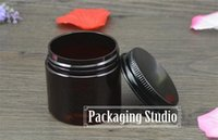 Wholesale 50g Brown Plastic Cosmetics Cream Bottles Pill Capsule Sample Packaging Jars Containers with Black Cap