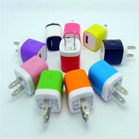 Wholesale 100pcs Colorful V A USA Travel Home USB Wall Charger adapter for iPhone s S Samsung Galaxy S5 S4 HTC Cell Phones Adapter