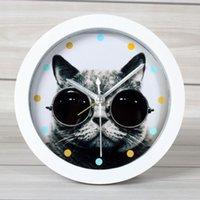animal alarm clocks - Animal kitten alarm clock cat clock home decoration desktop clock quieten edition