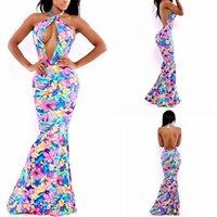 hawaiian dresses - FG1509 Hawaiian Mermaid Multi Color Neon Tropical Floral Print Dress Halter Neck Women Summer Dress Body Con Bandage Party Evening