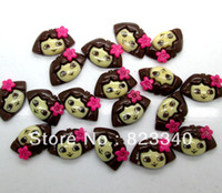 Wholesale 100pcs Flower kawaii Dora the Explorer flat back Resin Cab Cabochon Fit Phone Embellishment x15mm