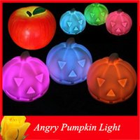halloween pumpkin light - Colorful Halloween Pumpkin Night Lights Decorations Plastic LED Angry Pumpkin Lamp Carver Apple Night Light For Christmas Party
