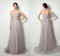 Reference Images strapless maxi dress - 2015 Silver Grey Bridesmaid Dresses Under In Stock Cheap Strapless Maxi Long Wedding Party Dress Chiffon Misses Jnior Bridesmaid Gowns