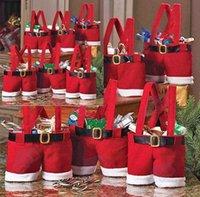 nonwoven fabric - 2014 Chirstmas Decorations New Elf Santa Pants Style Christmas Favors Candy Box Wedding Xmas New Year Gift Bags Santa Straps Shorts Bag
