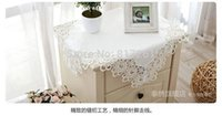 oval tablecloth - Fashion lace table runner white satin tablecloths oval silk damask cover for sofa cutout embroidery overlay cover