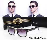 Wholesale New Fashion Dita Mach Three Coating Sunglasses Men Women Brand Designer Sun Glasses Vintage Retro Classic Oculos De Sol Gafas