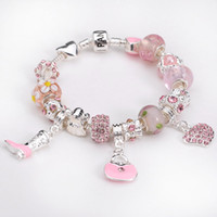 Wholesale Fashion sterling silver core murano beads with Rhinestone Heart Shoes love bracelets