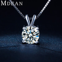 Wholesale MDEAN Vintage wedding chain white gold plated CZ diamond AAA jewelry for women necklace Pendant New Arrived necklace MSN002