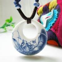 al por mayor étnica joyería de bricolaje-DIY de cerámica colgantes del collar de la vendimia de la manera de China hecha a mano étnico collar azul y blanca de la joyería Accesorios Jingdezhen regalo pintado a mano