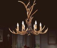 Wholesale Pastoral antler chandelier creative IKEA Bedroom dining room living room chandelier lamp lamps European antler lights