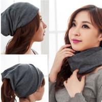 Wholesale Autumn Winter Men Women Hats Scraf Unisex Cotton Caps Hats Boy Girl Beanie Skull Caps Women Hair Band Scraves M1887