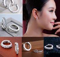 Wholesale Women Fashion Jewelry White Topaz Rhinestone Crystal Silver Plated Stud Earrings