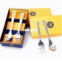 Wholesale New Kitchen Home Smiling Face Stainless Steel Tableware Set Fork Spoon G681