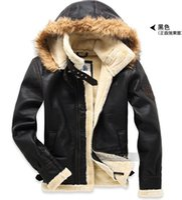 aviator jackets - Fall Men aviator air force leather jacket coat cashmere genuine sheepskin jacket coat winter motorcycle jacket