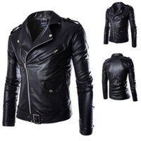Wholesale Fall M XL Men Leather Jacket Autumn Winter New Design British Style Men PU Leather Jacket Motorcycle Jacket Male Coat Black Brown