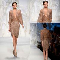 Cheap New Arrival Zuhair Murad Evening Dresses Deep V-Neck Designers Sexy 3 4 Sleeves Sheer Knee Length Sequins Beaded Hot Couture Evening Dress