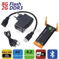 Wholesale Mini PC TV Stick Android RK3188 Quad Core G RAM G ROM WIFi Built in Bluetooth Dual External Antenna TV dongle J22 CX II TV Box