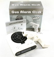 novelty clocks - Gun Alarm Clock Light With LCD Laser Target Gun Clocks Shooting Game Cool Gadget Novelty Electronic Toys Factory Price Dropship