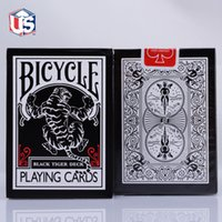 bicycle seconds cards - UV500 Black Tiger TCC Black Deck Tigers Red Pips Second Edition Ohio Bicycle Playing Card Decks Magic Tricks Magic Poker Cards