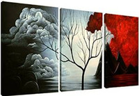 Wholesale Modern Abstract Painting the Cloud Tree Wall Decor Landscape Paintings Canvas Art x16inch set Stretched and Unframed Wall Art