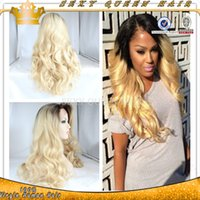 Cheap Lace Front blond ombre hair virgin human hair wigs Body wave two tone wig glueless ombre #1b613 blond human hair