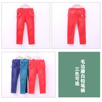 leggings with pockets - hot spring new kids Leggings Korean fashion style Pure color with pockets kids Tights cotton Candy color children Pencil pants ab146