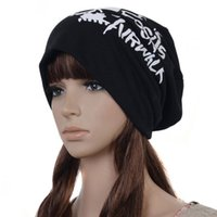 airwalk - Men Women Unisex Girl Skull Head Airwalk Letter Print Pattern Hip Hop Slouchy Knit Beanie Hat Cap Warm
