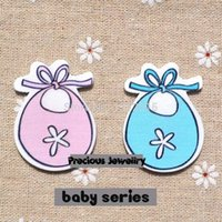 Wholesale x33mm Cute Blue Pink Baby Bib dress Wood buttons Fit Sewing Scrapbooking Crafts QC028
