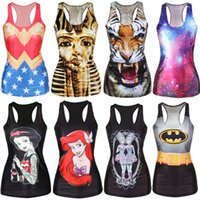 Wholesale Summer Skull Skeleton Tiger d Printed Tank Top Women Sleeveless Camisole Sport T Shirt Casual Tees Fitness Blusas Tops
