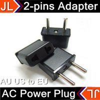 Wholesale DHL AU US to EU AC Power Plug Converter Travel Adapter Adaptor USA to European Power Plug Adapter pin Flat to Round