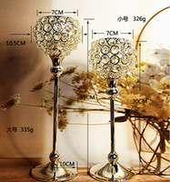 acrylic candle holders - 2pcs wedding Crystal globe Votive Candle Holder Metal Candle stand with Crystal Ball Silver gold for Home decoration