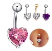 Wholesale 18K Gold Heart Rhinestone Dangle Navel Belly Bar Button Ring Zircon Stone Body Piercing Fashion Fine Jewelry DCBJ749