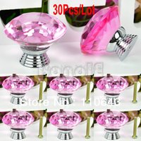 Cheap 30Pcs Lot Wholesale 40mm Crystal Glass Door Knob Drawer Cabinet Kitchen Handle Cupboard Wardrobe Pull Handle Pink 38