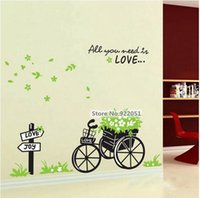 basket wallpapers - AY722 new arrival Flower basket and bike PVC stickers Wall Decal Wallpaper Room Sticker House Decals