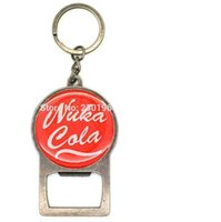 Wholesale Hot Game jewelry red colors Fallout Vault Boy Nuka Cola Bottle Opener Key chains LOGO Keyring