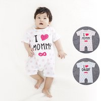 baby daddy stars - 2016 Baby clothing bodysuits romper infant one piece newborn jumpsuits short sleeve star dot i love mmmy daddy kid clothes wear Summer