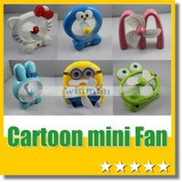 mini fan - Cute Portable Cortoon USB Mini Fan Rechargeable Battery Minions Fans with Retail box For kids gift